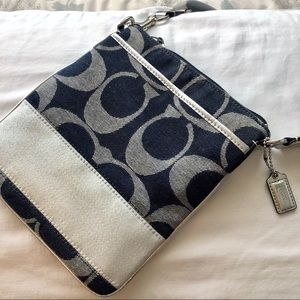 Coach Denim & Silver Side Purse / Crossbody Bag